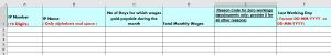 ESI Excel sheet