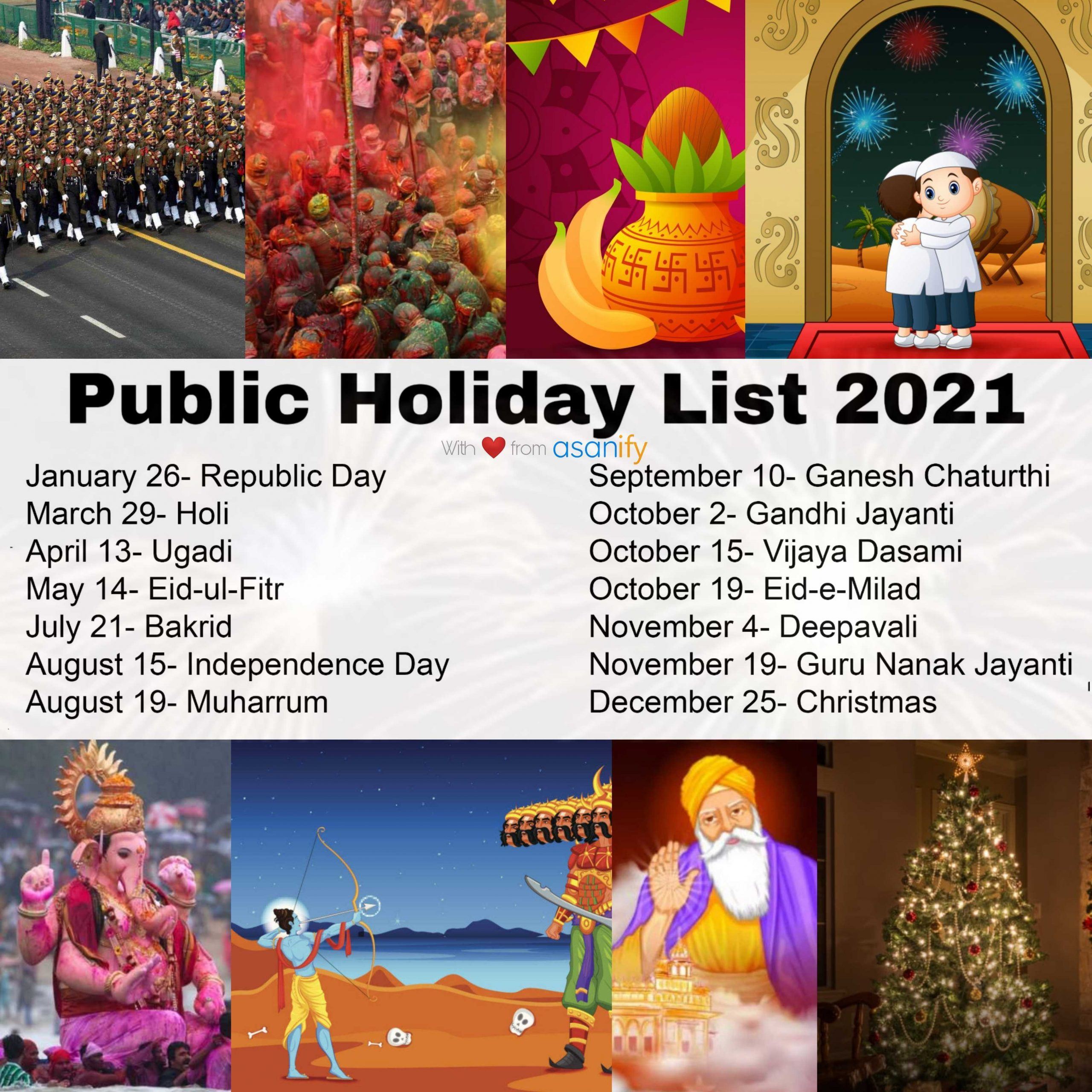 When and what are the Public Holidays in 2021?